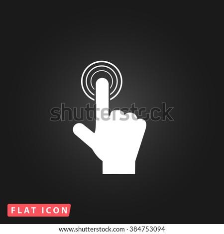 hand click White flat icon on dark background. Simple illustration pictogram - stock photo