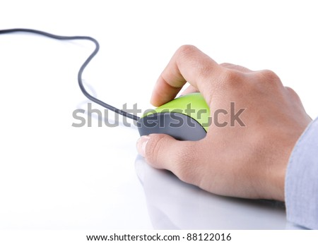 hand clicking computer mouse isolated over white background