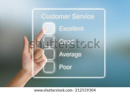 hand clicking customer service on virtual screen interface  - stock photo