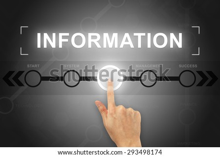 hand clicking information button on a touch screen - stock photo