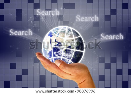 Hand clicking internet search page with earth : Elements of this image furnished by NASA