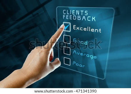 hand clicking online clients  feedback survey on virtual screen interface