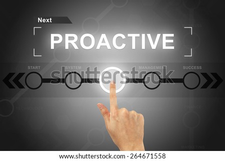 hand clicking proactive button on a touch screen - stock photo