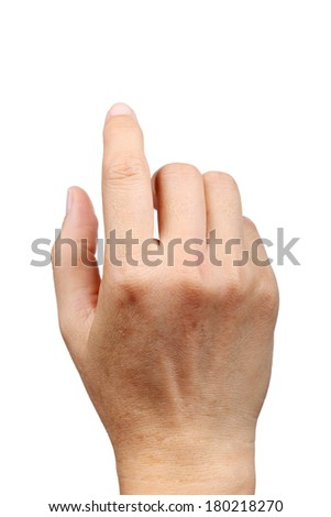 hand clicking, touching isolated on white background  - stock photo