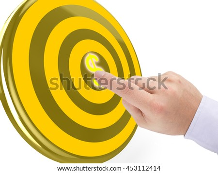 Hand clicks on the center of a golden target with a yellow dollar symbol 3D illustration pay per click concept - stock photo