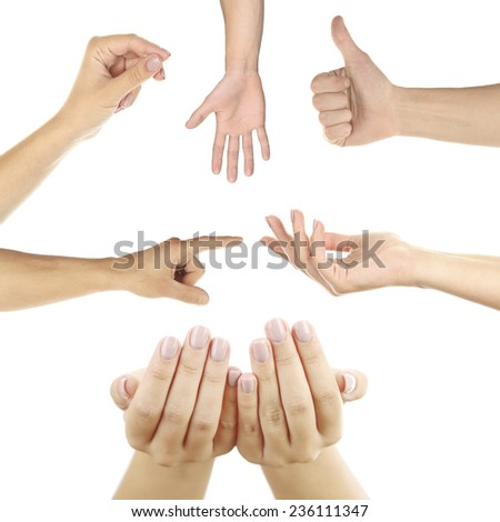 Hand collage, gestures set isolated on white