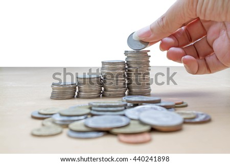 hand collect  stack of coins : concept of saving money - stock photo