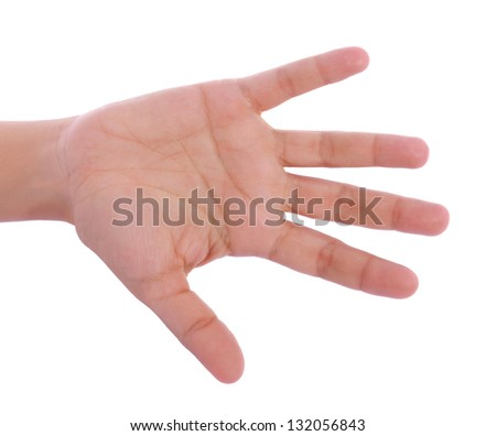 hand completely open and facing over white background