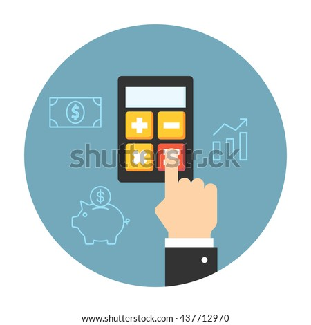 Hand considers on the calculator. Flat icons for accounting - stock photo