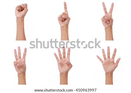 Hand count.woman hands show the number zero,one, two, three, four,five on white background