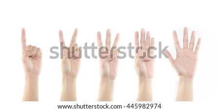 Hand Counting one to five isolated on white