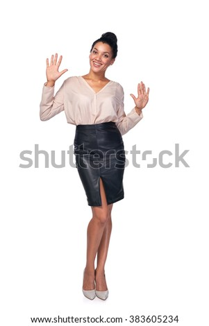 Hand counting - ten fingers. Mixed race african american - caucasian woman indicating the number ten with her fingers - stock photo
