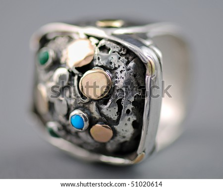 Hand Crafted Silver Ring - Macro - stock photo