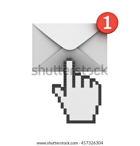 Hand cursor clicking E mail notification one new email message in the inbox concept isolated on white background with shadow. 3D rendering.
