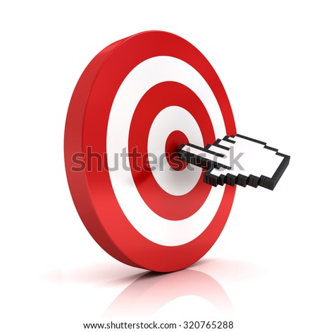 Hand cursor clicking in the center of the red dart board or target isolated over white background - stock photo