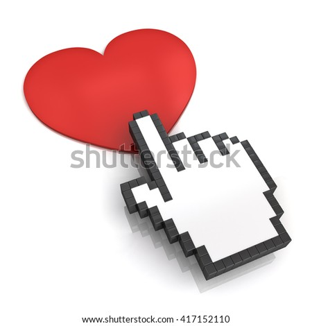 Hand cursor clicking love button or link isolated on white background with shadow and reflection. 3D rendering.