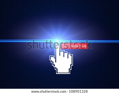 Hand cursor clicking on Contact us button Hand cursor clicking on Contact us button - stock photo