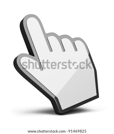 hand cursor. 3d image. Isolated white background. - stock photo