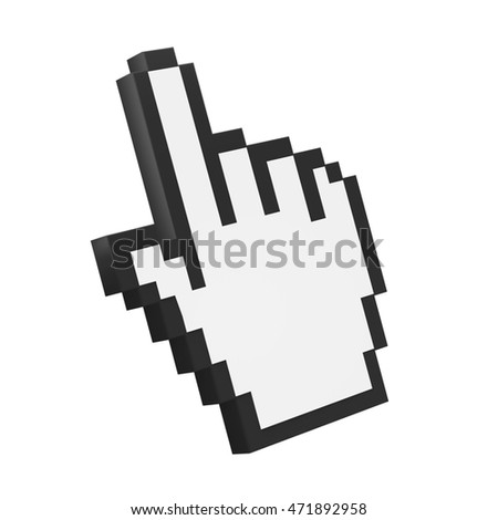 Hand Cursor Isolated. 3D rendering