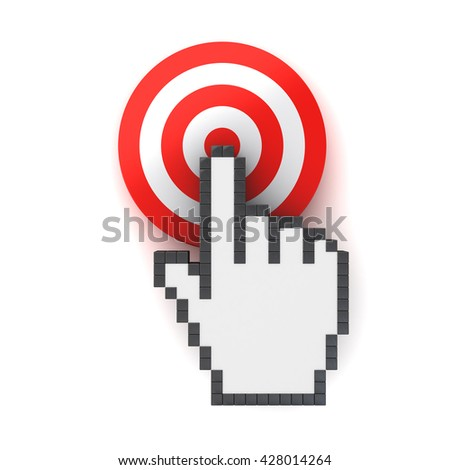Hand cursor mouse computer clicking in the center of the red dart board or target concept isolated over white background with shadow. 3D rendering. - stock photo