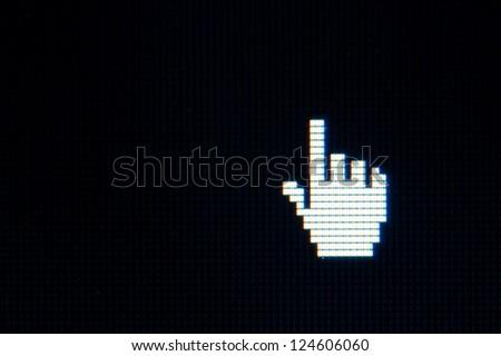 hand cursor on computer black screen - stock photo