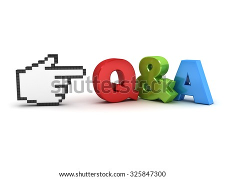 Hand cursor pointing at Q and A questions and answers concept isolated over white background - stock photo