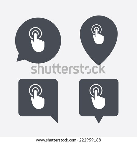 Hand cursor sign icon. Hand pointer symbol. Map pointers information buttons. Speech bubbles with icons.