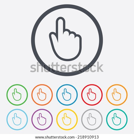 Hand cursor sign icon. Hand pointer symbol. Round circle buttons with frame.