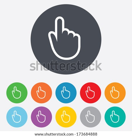 Hand cursor sign icon. Hand pointer symbol. Round colourful 11 buttons.
