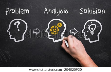 hand describing the idea creation process - stock photo