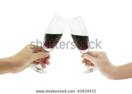 hand do a cheers with wine goblets