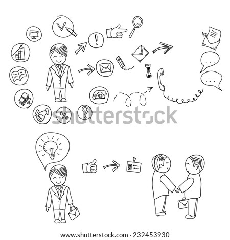 Hand doodle Business icon set idea design on a white background infographics, job search, resume writing.