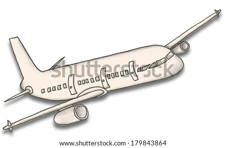 Hand Drafted Paper Plane with Clipping Path on White Background - stock photo