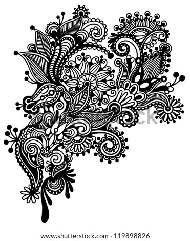 Hand draw black and white line art ornate flower design ukrainian traditional style raster