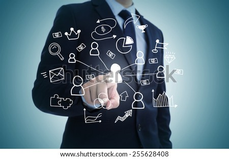 Hand draw business sketches doodle infographic elements,chart graph,concept businessman hand touch analytics earnings. - stock photo