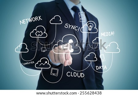 Hand draw business sketches doodle infographic elements,chart graph,concept businessman hand touch cloud network. - stock photo