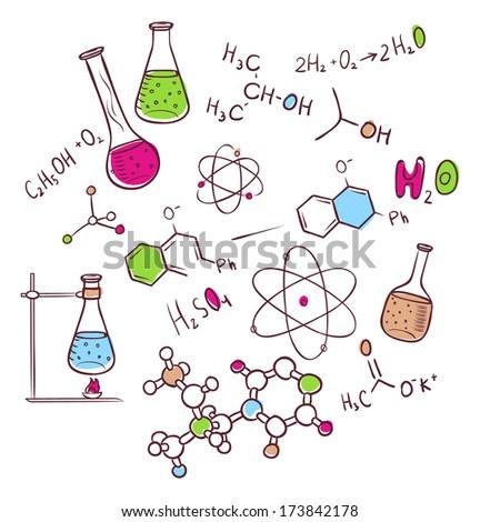 Hand draw chemistry background - stock photo