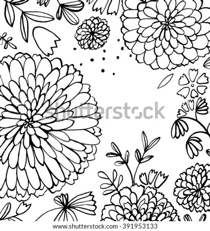 Hand Draw Decorative Flowers On White Background Design Illustration Trendy Image Backdrop Ink