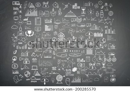Hand draw doodle elements money and coin icon, chart grap on blackboard. Concept bank business finance analytics earnings - stock photo