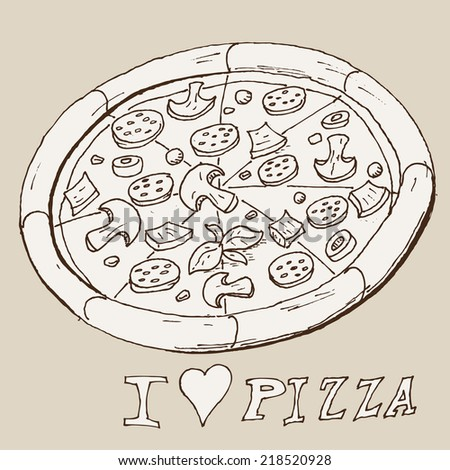 hand draw doodle sketch pizza cartoon - stock photo