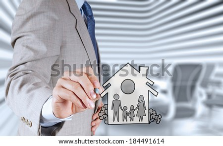 hand draw family and house as insurance concept  - stock photo