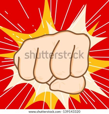 Hand draw fist hit vector - stock photo