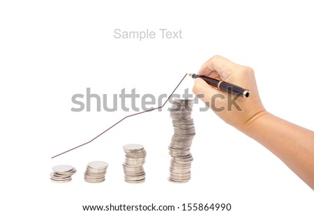 hand draw graph and stack of coins  isolated on white