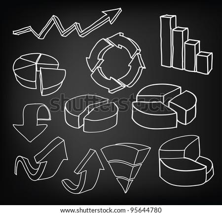 Hand draw graph set - stock photo