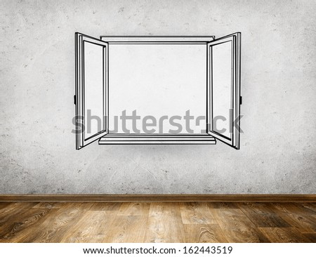 Hand Draw Open Window From Old Room Background