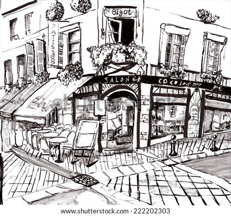 hand draw paris coffee shop on paper