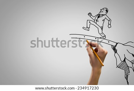 Hand draw pencil caricature of funny businessman - stock photo