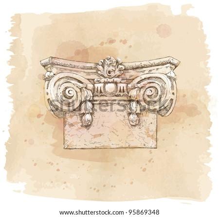 Hand draw sketch chapiter. Bitmap copy my vector - stock photo