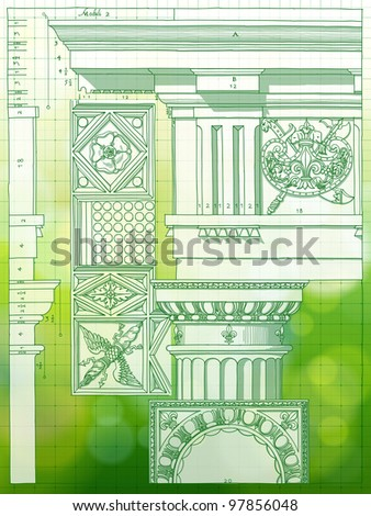 Hand draw sketch doric architectural order & green bokeh background. Bitmap copy my vector - stock photo
