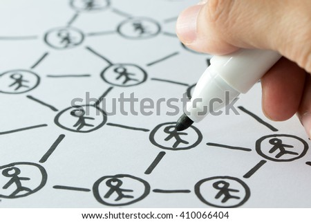 Hand draw social network on a sheet of paper